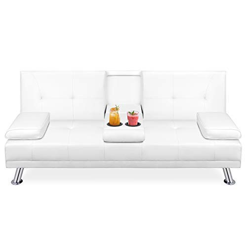 Walsunny Modern Faux Leather Couch, Convertible Futon Sofa Bed for Living Room with Armrest & Fold Up & Down Recliner Couch with Cup Holders - White