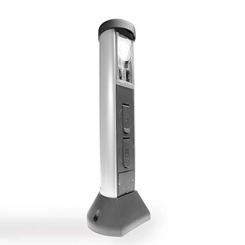 REV Ritter SilverCraft 2-Fach Steckdose| mit Zeitschaltuhr | Strom im Garten | Außenbereich| Steckdosensäule| Gartensteckdose| Aussensteckdose mit 2 Steckdosen Silber anthrazit