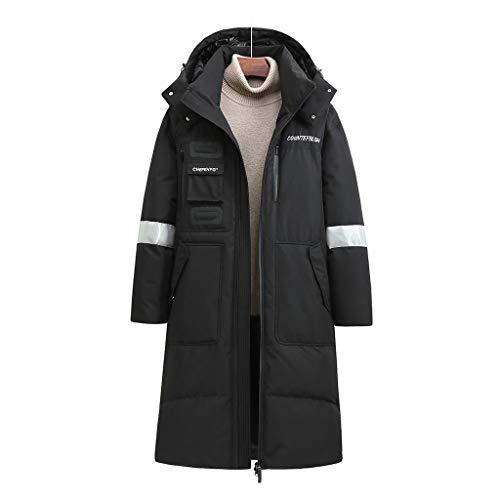 YWSZJ Nuevo Invierno espesos Hombres Mujeres Abajo Chaqueta de Moda con Capucha x-Largo cálido Pato Abrigo Ropa de Abrigo (Color : Black, Size : Large)