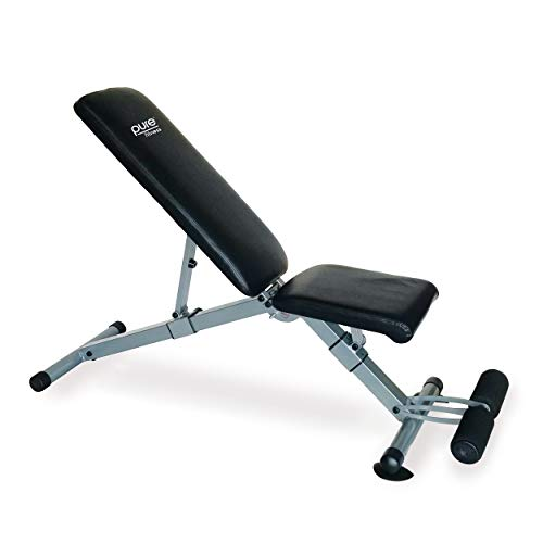Pure Fitness Pro Adjustable FID Weight Bench, Black