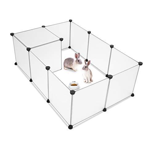 Bellanny Recinto per Animali Domestici, Recinzione da Esterno Piccoli Animali Cucciolo Run Box plastica Conigli Cani Gattini porcellini d'india(14 * 14)