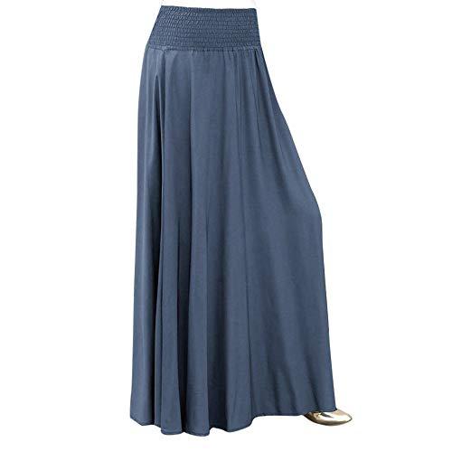 beautyjourney Falda Larga Mujer A-Line Vintage Falda Plisada Cintura elástica Faldas largas y Elegantes de Columpio Falda Skater Suelta de Color Liso