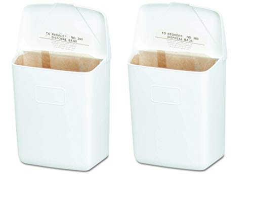 Hospeco Feminine Hygiene Receptacle, White ABS Plastic, 250-201W (Тwo Рack)