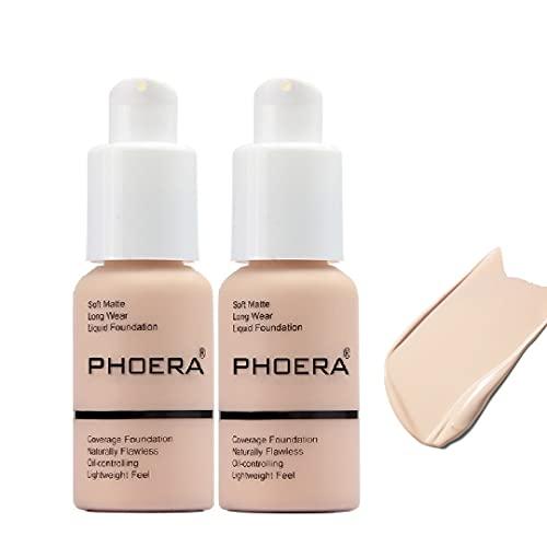 2 Pack Matte Oil Control Concealer Foundation Cream,PHOERA New 30ml Long Lasting Waterproof Matte Liquid Foundation (101 Porcelain)