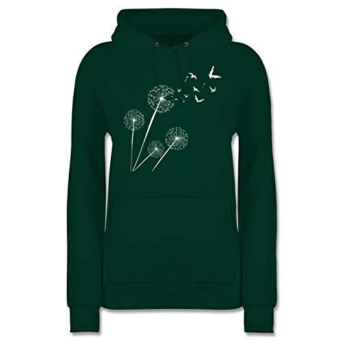Sprüche Statement mit Spruch - Pusteblume Vögel - L - Dunkelgrün - Sweatshirts Damen - JH001F - Damen Hoodie und Kapuzenpullover für Frauen
