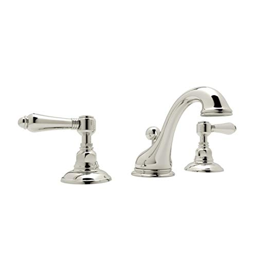 Rohl A1408LMPN-2 C-Spout Widespread Bathroom Sink Faucet with Metal Lever Handles, Polished Nickel