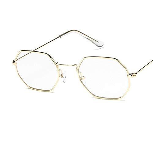 DFSMG Gafas de Sol Hombres Pequeño Marco Polygon Lente Claro Gafas de Sol Vintage Vintage Gafas Hexágono Metal Marco (Lenses Color : C10)