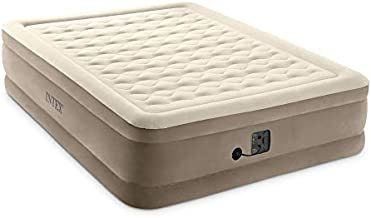 Intex Ultra Plush Fiber-Tech 18 Inch High Queen Inflatable Airbed Elevated Air Mattress with Built-In Pump & Flocked Top, Tan