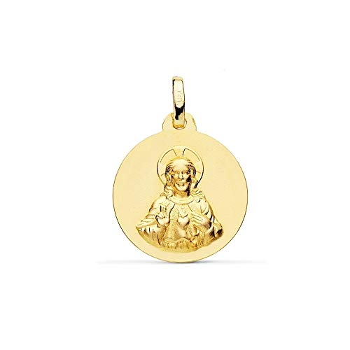 Medalla Oro 18K Escapulario 18mm. Virgen Del Carmen Corazón De Jesús Liso