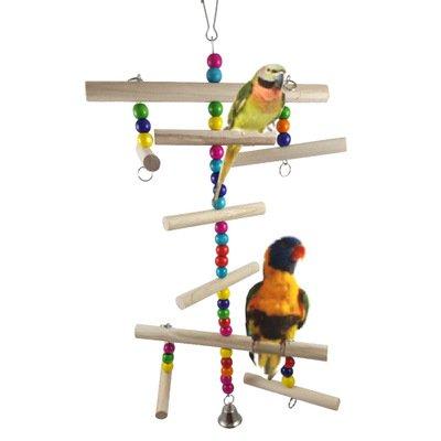 Hypeety Pont Bascule Jouet en Bois perchoirs Support Échelle pour Petits Oiseaux Perruche Perruche Cage à cacatoès Accessoires pour Animal Domestique Chewing Jouet à Suspendre