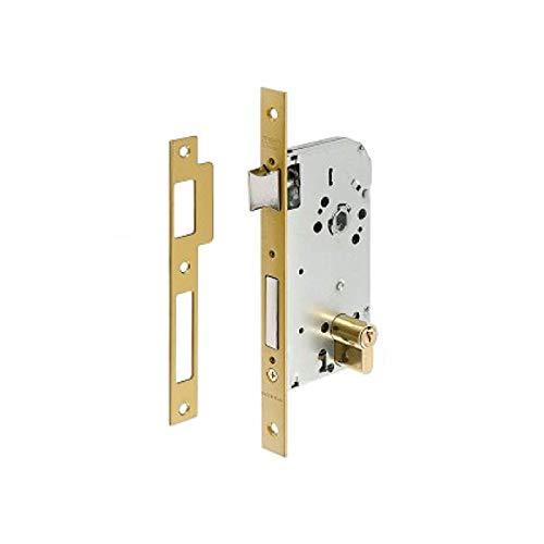 Tesa Assa Abloy 13048CHL Cerradura de embutir para puertas de madera Con Cilindro Latonado Entrada 40 mm / Frente Cuadrado 130
