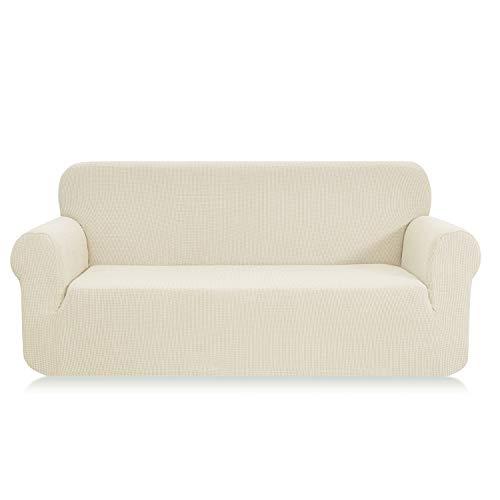 E EBETA Elastisch Sofa Überwürfe Sofabezug, Stretch Sofahusse Sofa Abdeckung Hussen für Sofa, Couch, Sessel 3 Sitzer (Cremefarbe, 185-235 cm)