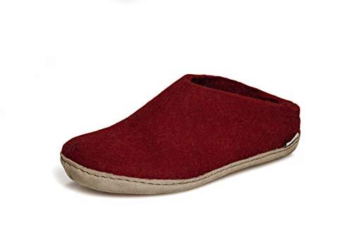 glerups dk B Slipper Unisex - Erwachsene Filz-Slipper, Damen,Herren Huettenschuhe,Filz-Schuhe,Filz-Pantoffel,Pantoletten,Puschen Rot, 40 EU / 6.5 UK