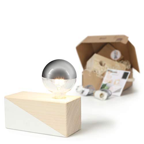 CREATE! by OBI DIY Tischleuchte, groß | Dekorative Tischlampe aus Holz zum Selberbauen inkl. LED-Leuchtmittel Warmweiß E27 (HINWEIS: Farbe im Set nicht enthalten) [Energieklasse A+]