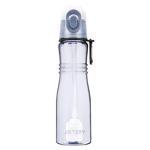 JETERY Trinkflasche Wasserflasche Auslaufsicher Sportflasche mit Wasserfilter uberBottle BPA-frei Auslaufsicher 680ML für Schule, Sport, Fahrrad Grau