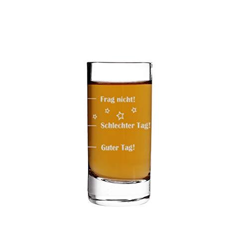 Herz & Heim® Schnapsglas - Guter Tag - Schlechter Tag - Frag nicht! - das Stimmungsglas als lustige Geschenkidee mit Gravur