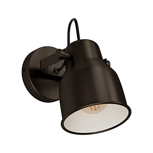 EGLO Wandlampe Mitchley, 1 flammige Deckenlampe Vintage, Industrial, Retro, Wandleuchte innen aus Stahl, Wohnzimmerlampe, Flurlampe in Dunkel-Bronze, Creme, Spot mit E27 Fassung