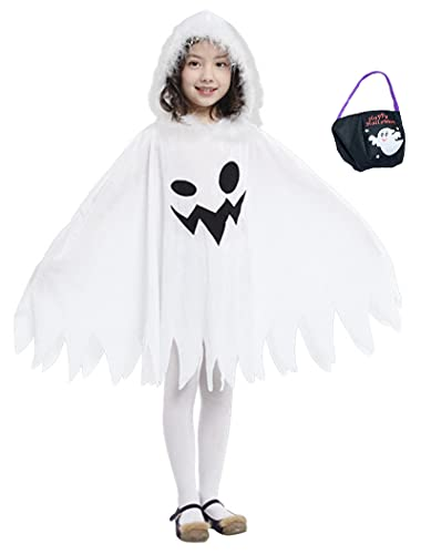 Kids White Ghost Cloak Spooky Trick-or-Treating Halloween Costume with...