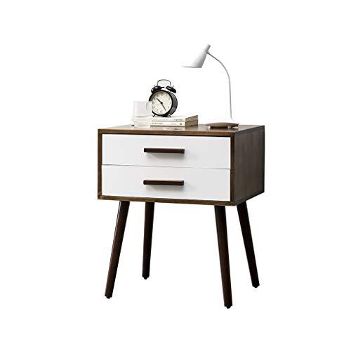 TXXM Nachttisch Schlafzimmer Spind, Schlafzimmer Nachttisch, Wohnzimmer Locker, Wohnzimmer Sofa Seitenschrank (Color : Walnut Color+White, Size : 45 * 35 * 57cm)