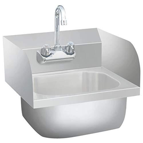 vidaXL Gastro Handwaschbecken mit Wasserhahn Wandmontage Spülbecken Spüle Küchenspüle Gastrobecken Waschtisch Edelstahlspüle Edelstahl