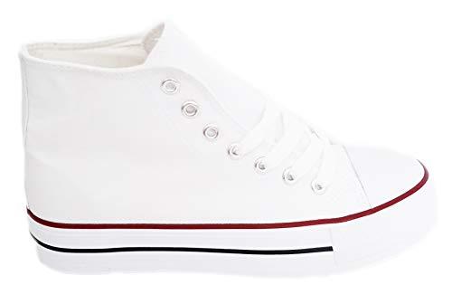 Zapatillas Altas Blancas Lona Mujer Bambas Deportivas con Plataforma 3.5cm, T.38