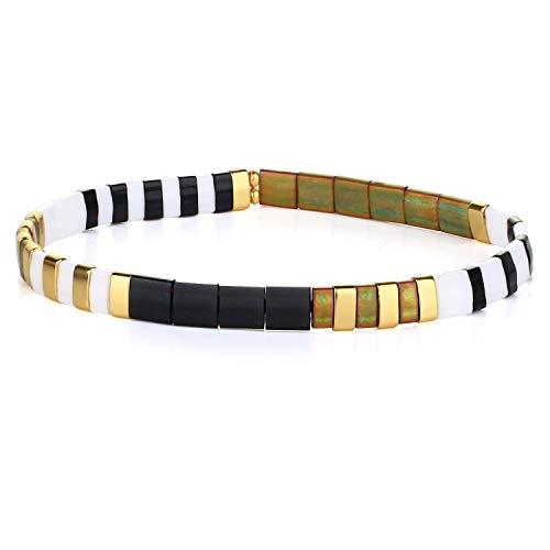 KANYEE Bracelets élastique Bracelets D'amitié Fait Main Bracelets Perlés Tila Bracelets Breloques De Mode pour Femme – 9H