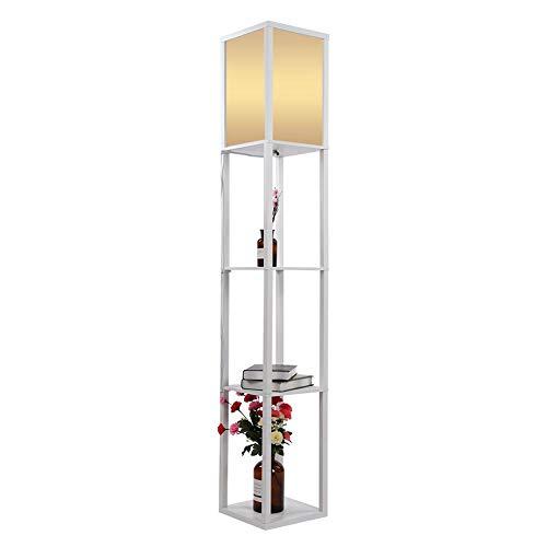 Lámpara De Pie Madera Roble Tela Vertical de Suelo Moderna con Unidades de Estanterías Integradas para Salones Lounge Pasillo Decoración Iluminación Hogar Enchufe de la UE 220V (Blanco)