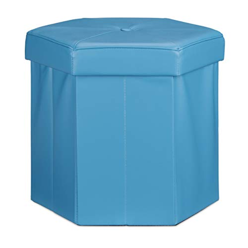 Relaxdays Tabouret de rangement pliant pouf avec couvercle H x l x P: 38 x 42 x 42 cm coffre en similicuir banc pliable repose-pieds, bleu