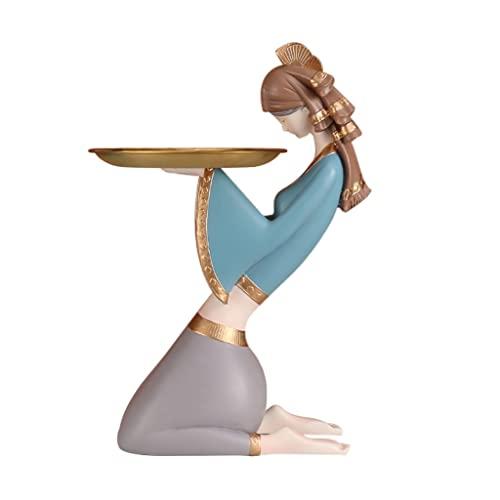 Bandejas decorativas Escultura de camarera antigua Bandeja de almacenamiento de llaves Bandeja de joyería de resina Bandeja de tocador Bandeja de decoración de mesa para fruta de caramelo