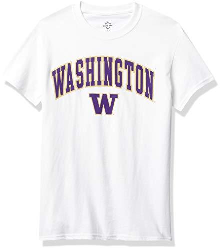Elite Fan Shop NCAA Washington Huskies Mens White Arch Short Sleeve T-shirt, Washington Huskies White, Large