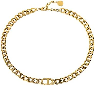 Gold Plated Cuban Chain Choker CD Initial Stainless Steel Non-Fading Dainty Necklace