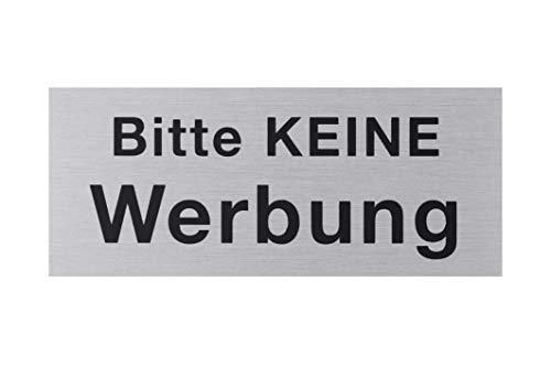 """Metafranc Klebeschild """"Bitte keine Werbung"""" - 60 x 25 mm - aus Aluminium - in Edelstahl-Optik - Selbstklebende Rückseite / Beschilderung / Infoschild / Briefkastenschild / 507500"""