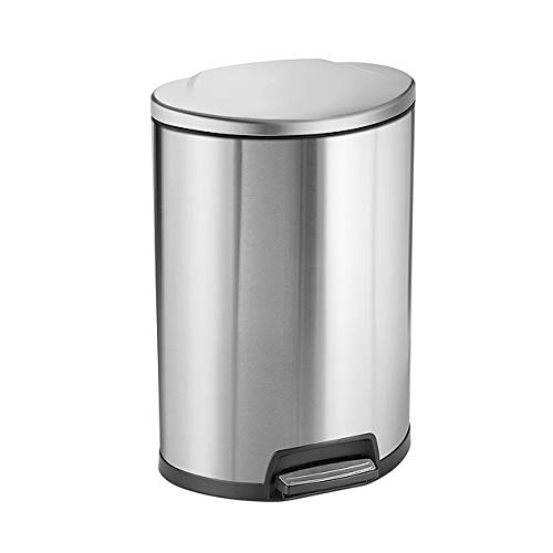 Tramontina 81200/000DS Stainless Steel D-Shape Step Can Freshener System, Trash Can, 13-Gallon