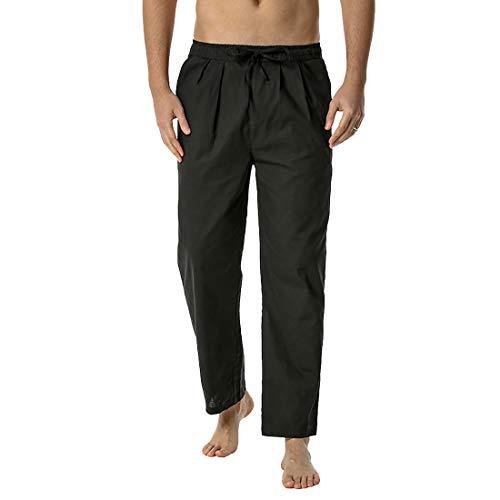 Litthing Pantalones del para Hombres,Pantalones Casuales Flojos de Yoga,Pantalones Elásticos Ligeros de la Cintura para Hombre, Ajuste Holgado, Pantalones de Yoga y Playa (Negro, 3XL)