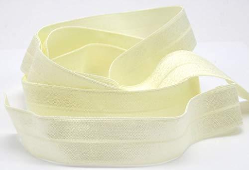 Veno Schrägband elastisch, Falzband, Falzgummi, 20/10mm, Einfaßband, Gummi, nähen, Meterware, 1 Meter (Creme)
