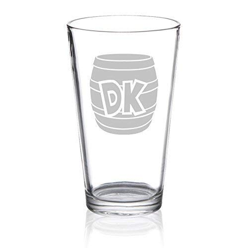 Donkey Kong - DK Barrel - Etched Pint Glass