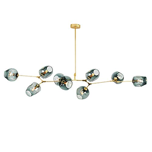 NZDY Lámpara de araña Sputnik moderna nórdica, lámpara colgante de rama de bola de cristal azul, lámpara de cristal con pantalla de soplado a mano, lámpara de araña ajustable antigua, 6 luces E27,dor