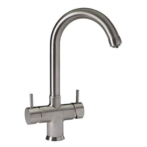 Rubinetto a 5 vie Nobius con bocca di erogazione a C in acciaio INOX per acqua fredda e calda non trattata e 3 tipi di acqua supplementari silenziosa, refrigerata e con anidride carbonica