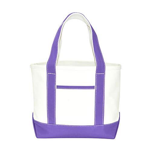 DALIX 14' Mini Small Cotton Canvas Party Favor Wedding Gift Tote Bag in Purple