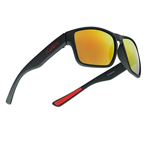 Classic Square Mirrored KUSH Wrap Around Sport Keyhole Soft Tip Sunglasses (Matte Black Frame, Fire Red)