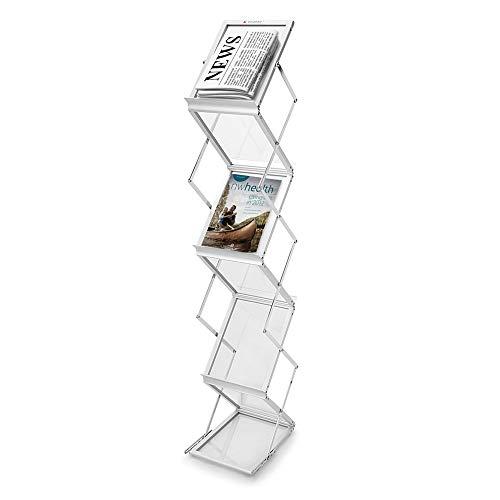 Revistero de suelo con 6 estantes plegables, folleto, A4, folleto, expositor, revistas,...
