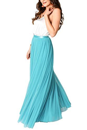 Constant Love® Damen Tüllrock Designer Rock lang Stretchtüll hochwertig mit Reißverschluss (40, Türkis lang)