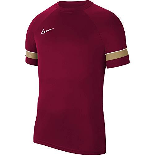 NIKE Camiseta de Entrenamiento Academy 21 para Hombre, Hombre, Camiseta, CW6101-677, Rojo/Blanco/Dorado/Blanco, Medium