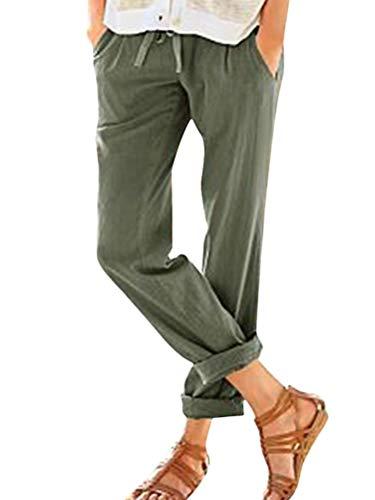 ORANDESIGNE Femme Été Décontractée Coton Lin Ample Pantalon Léger Cordon Élastique Solide Couleur Sport Pants 7/8 Longueur Pants Confortable Vert Small