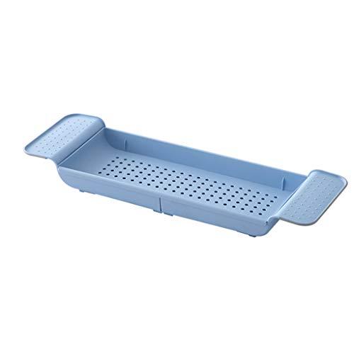 shelf Adjustable Bathtub Holder Bridge Tub Caddy Tray Rack Shower Tub Makeup Towel Organizer Extending Phone Tablet Book Holder(Color:blue)