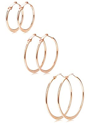 Finrezio 3 Pairs Stainless Steel Big Hoop Earrings for Women Girls Fashion Flat Round Large Earrings 40-60MM, 3 Color