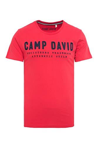 Camp David Herren T-Shirt mit Round Neck und Logo-Stickerei Rot L