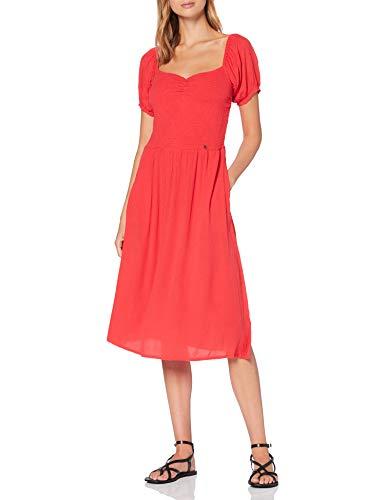 Superdry Kala Smocked Midi Dress Vestito, Rosso (Hibiscus Qnf), S (Taglia Produttore:10) Donna