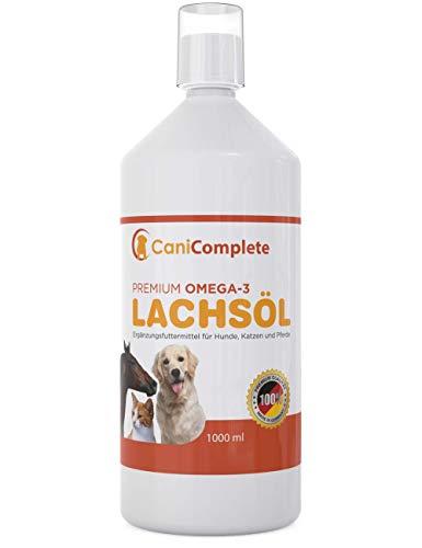 CaniComplete Premium Lachsöl - 30% Omega 3 Anteil - für Hunde, Katzen und Pferde. 1000ml Fischöl flüssig - optimale Barf Ergänzung - Barf Öl