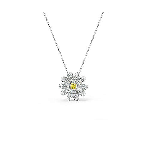 BSbattle Fashion Jewelry SWA1:1, Charm Simple Bowknot Small Daisy Flower Moon Horseshoe Piano Leaf Crystal Female Necklace-Imitation Rhodium Plated